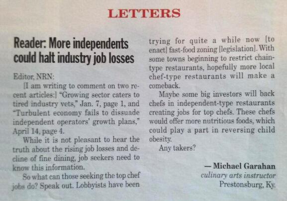 Nation's Restaurant News Letter