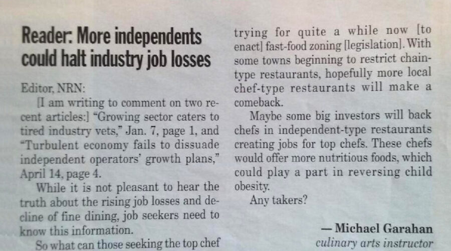 California and Utah adopt Chef Garahan's published suggestions from Nation's Restaurant News, May 2008!